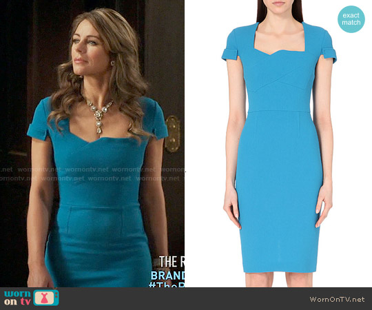 Roland Mouret Ollerton Dress in Bright Blue worn by Elizabeth Hurley on The Royals