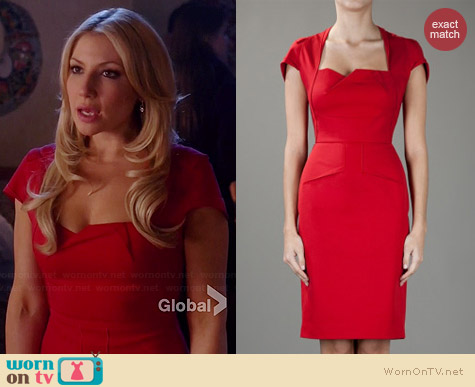 Roland Mouret Red Panelled Dress worn by Ari Graynor on Bad Teacher