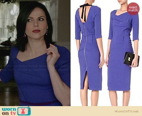 Roland Mouret Sirius Dress in Royal Blue worn by Lana Parilla on OUAT