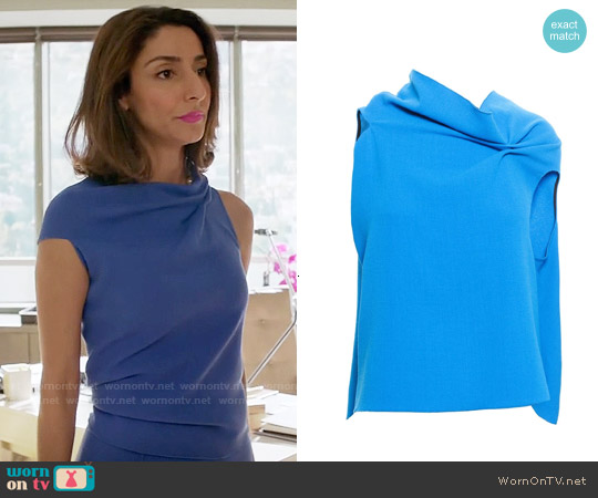 Roland Mouret Wool Eugene Top worn by Necar Zadegan on GG2D