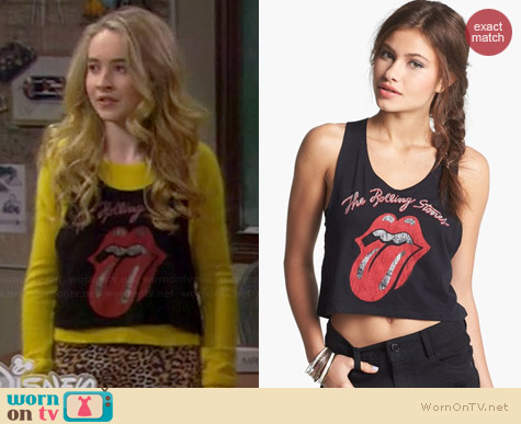 Nordstrom Rolling Stones Cropped Muscle Tank worn by Sabrina Carpenter on Girl Meets World