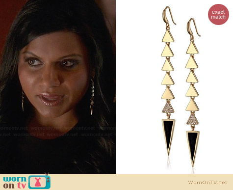 Roman Luxe Linear Triangle Drop Earrings worn by Mindy Kaling on The Mindy Project