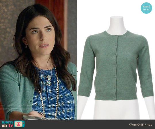Ron Herman Cashmere Baby Cardigan in Teal worn by Laurel Castillo on HTGAWM