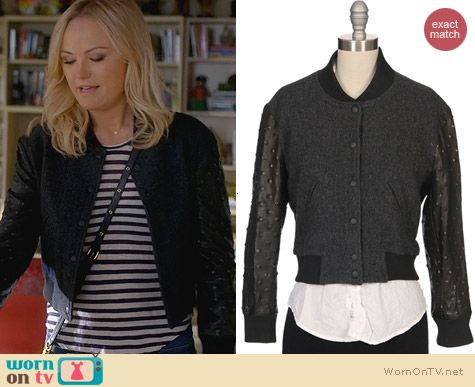 Ron Herman Studded Leather Sleeve Baseball Jacket worn by Malin Akerman on Trophy Wife