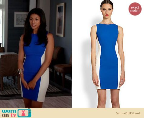 Royal Pains Fashion: Antonio Berardi Colorblock Crepe Dress worn by Reshna Shetty