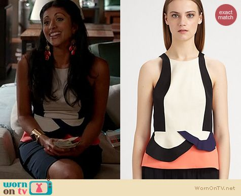 Royal Pains Fashion: Diane von Furstenberg Eon peplum top worn by Reshma Shetty