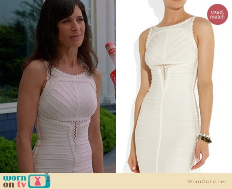 Royal Pains Fashion: Herve Leger Mesh detailed bandage dress worn by Perrey Reeves