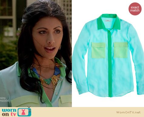 Royal Pains Fashion: J. Crew Collection Silk Colorblock blouse worn by Reshma Shetty