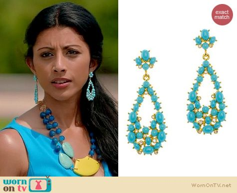 Royal Pains Fashion: Kenneth Jay Lane Turquoise Teardrop earrings worn by Reshma Shetty