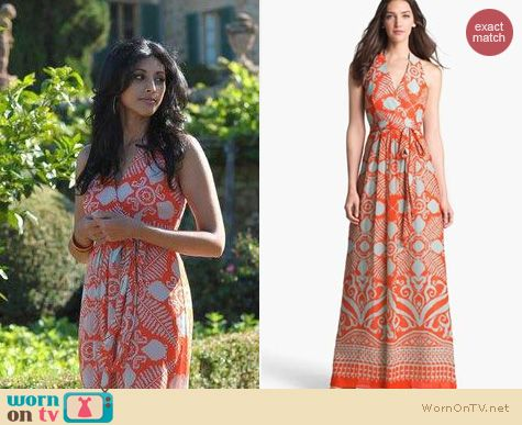 Royal Pains Fashion: Milly Gustavia Maxi dress worn by Reshma Shetty