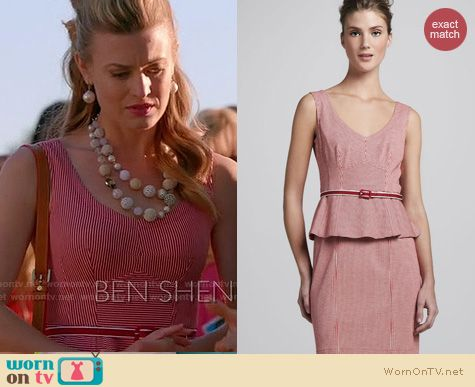 Royal Pains Fashion: Nanette Lepore Striped Peplum dress worn by Brooke D'Orsay