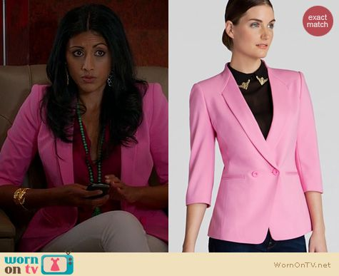 Royal Pains Fashion: Ted Baker Meeda Double Breasted blazer in pink worn by Reshma Shetty