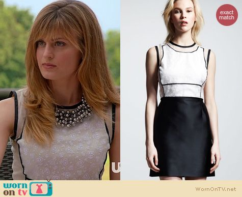 Royal Pains Fashion: Victoria Beckham Crochet and Organza dress with cutouts worn by Brooke D'Orsay