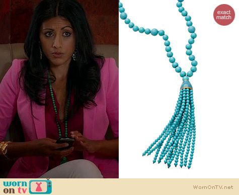Royal Pains Fashion: Kenneth Jay Lane Beaded Tassel Necklace worn by Reshma Shetty