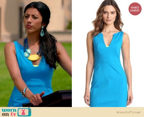 Royal Pains Style: Elie Tahari Nessa dress in scuba worn by Reshna Shetty