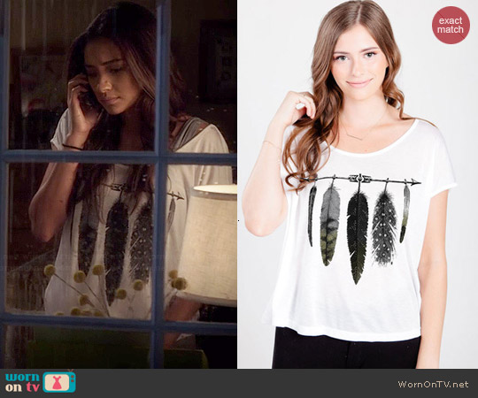 Royal Rabbit Arrow Feathers Perfect Modal Tee worn by Shay Mitchell on PLL