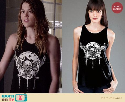 Royal Rabbit Aztec Eagle High Neck Flowy Tank worn by Lindsey Shaw on PLL