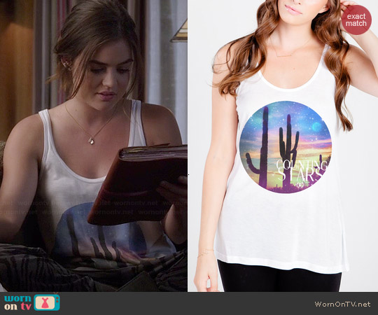 Royal Rabbit Counting Stars Tank worn by Lucy Hale on PLL