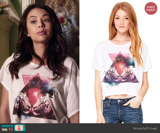 Royal Rabbit Double Trouble Galaxy Tigers Boxy Tee worn by Janel Parrish on PLL
