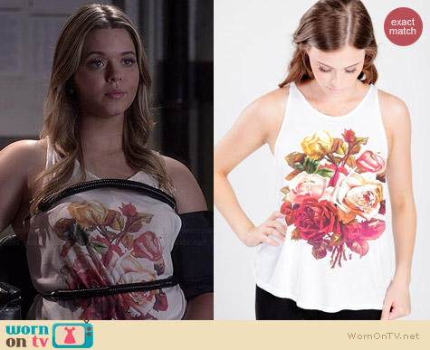 Royal Rabbit Granny Rose High Neck Flowy Tank worn by Sasha Pieterse on PLL
