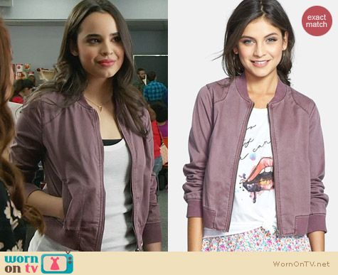 Rubbish Twill Bomber Jacket in Faded Rose Ginger worn by Soleil on Faking It