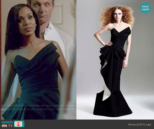 Rubin Singer Fall 2015 Black Gown worn by Kerry Washington on Scandal