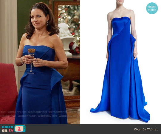 Rubin Singer Strapless Draped Ball Gown worn by Julia Louis-Dreyfus on Veep