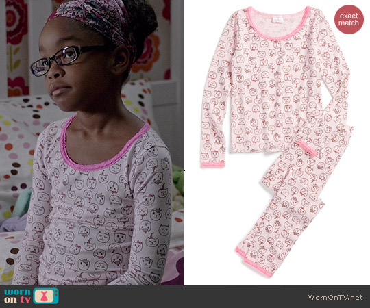 Ruby & Bloom Two-Piece Fitted Pajamas in Cat Print worn by Marsai Martin on Black-ish