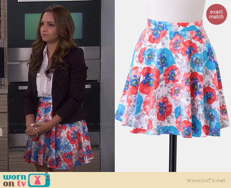 Ruche Garden Painting Skater Skirt worn by Aimee Carrero on Young & Hungry