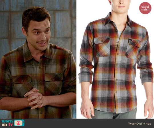 RVCA Kraken Shirt in Red Earth worn by Jake Johnson on New Girl