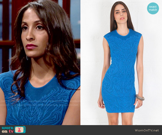 RVN Mini Tattoo Lace Jacquard Dress worn by Christel Khalil on The Young & the Restless
