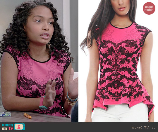 RVN Scorpio Lace Jacquard Peplum Top worn by Yara Shahidi on Black-ish