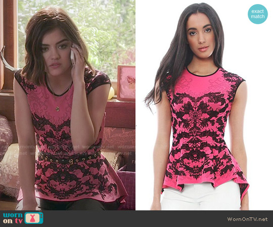 RVN 'Scorpio' Lace Jacquard Peplum Top worn by Lucy Hale on PLL