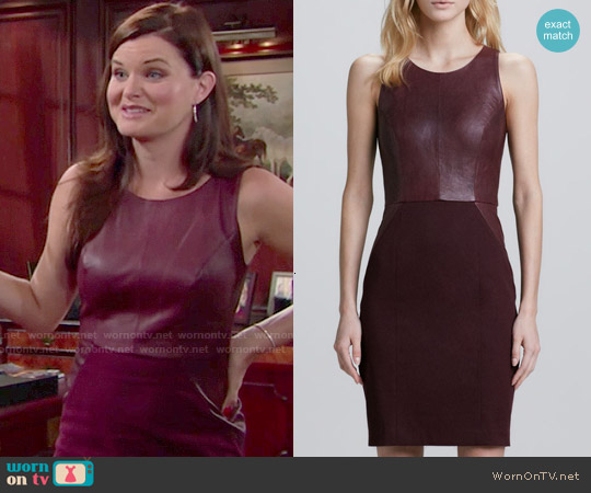 Sachin + Babi Carolina Leather Ponte Dress worn by Heather Tom on The Bold & the Beautiful