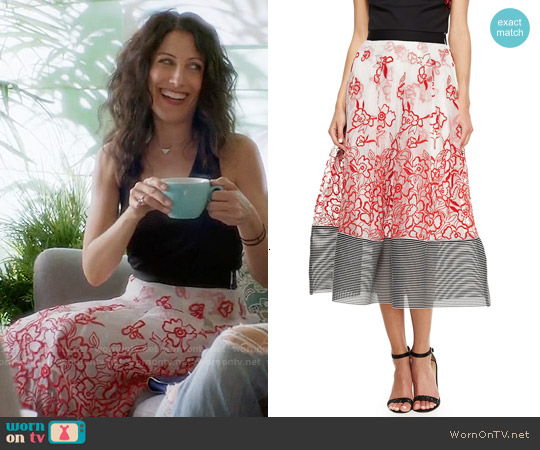 Sachin + Babi Noir Embroidered Floral Midi Ball Skirt worn by Lisa Edelstein on GG2D