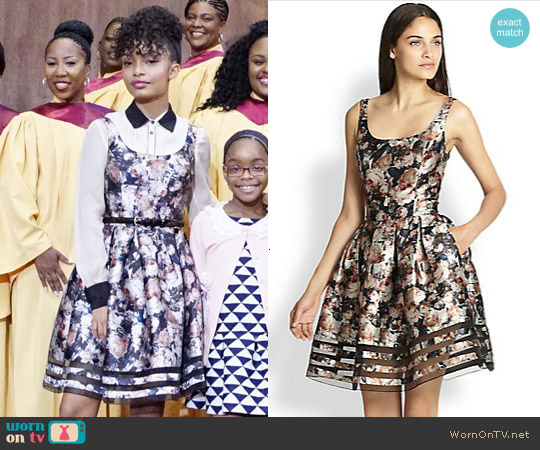 Sachin + Babi Facet Floral-Print Dress worn by Yara Shahidi on Blackish