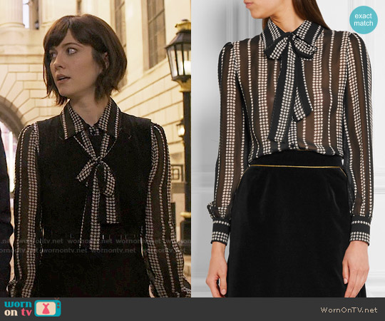 Saint Laurent Pussy-bow printed silk-georgette shirt worn by Mary Elizabeth Winstead on BrainDead