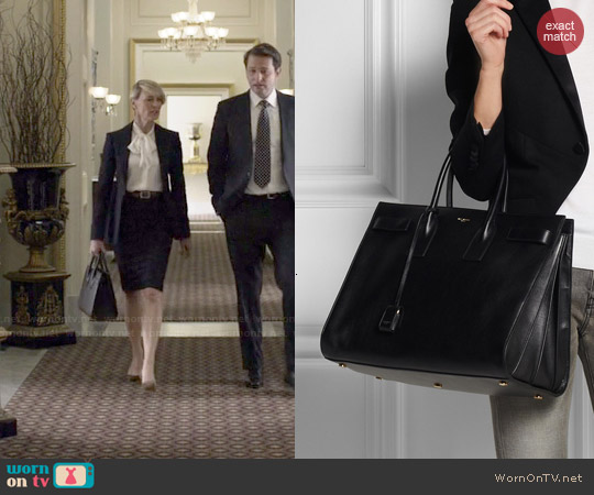 Saint Laurent Sac De Jour medium leather tote worn by Robin Wright on House of Cards