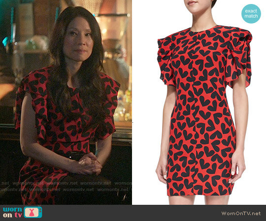 Saint Laurent Fluttering Silk Heart-Print Dress worn by Lucy Liu on Elementary