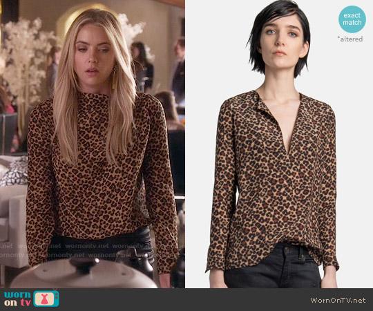 Saint Laurent Leopard Print Blouse worn by Ashley Benson on PLL