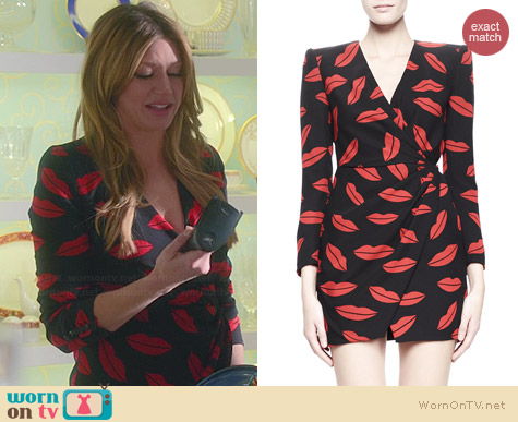 Saint Laurent Lips Print Crossover Dress worn by Jes Macallan on Mistresses