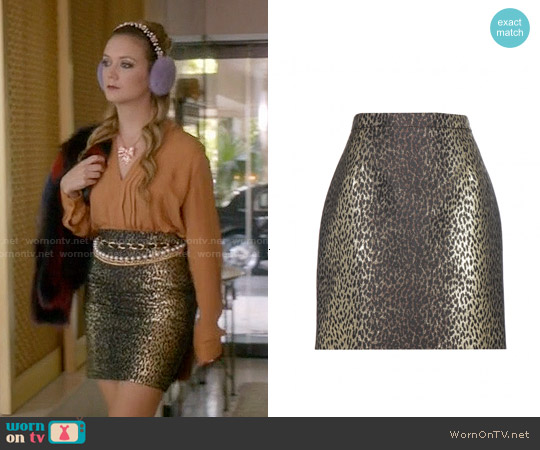 Saint Laurent Metallic Jacquard Skirt worn by Chanel #3 on Scream Queens