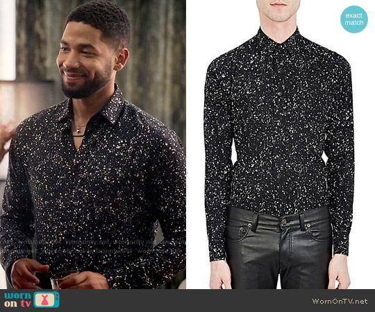Saint Laurent Paint Splatter Print Shirt worn by Jussie Smollett on Empire