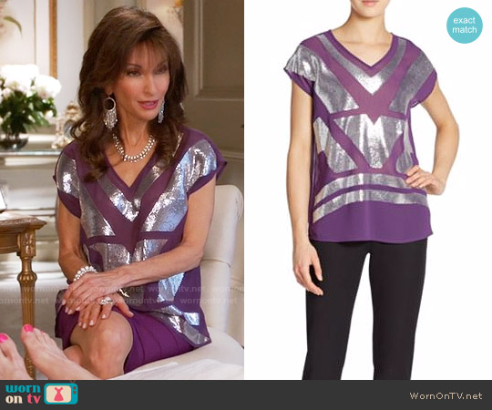 Saks Fifth Avenue Black Sequined V-Neck Top worn by Susan Lucci on Devious Maids