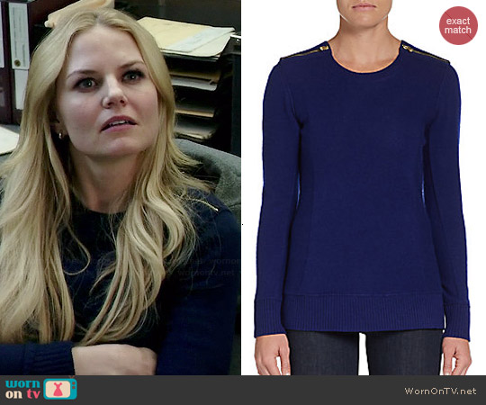 Saks Fifth Avenue Cashmere Cashmere Zip-Shoulder Pullover worn by Jennifer Morrison on OUAT