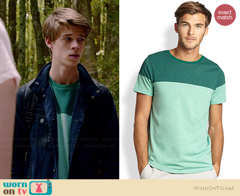 Saks Fifth Avenue Collection Colorblocked Crewneck Tee worn by Colin Ford on Under the Dome