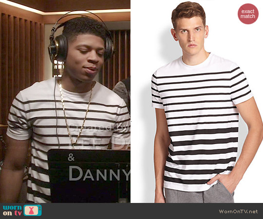 Saks Fifth Avenue Collection Modern Fit Stretch Cotton Stripe Tee worn by Hakeem Lyon on Empire