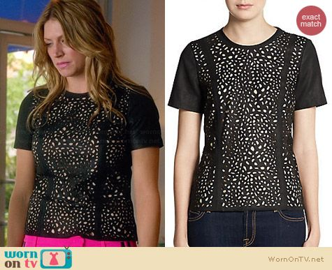 Saks Fifth Avenue RED Laser-Cut Leather Top worn by Jess Macallan on Mistresses
