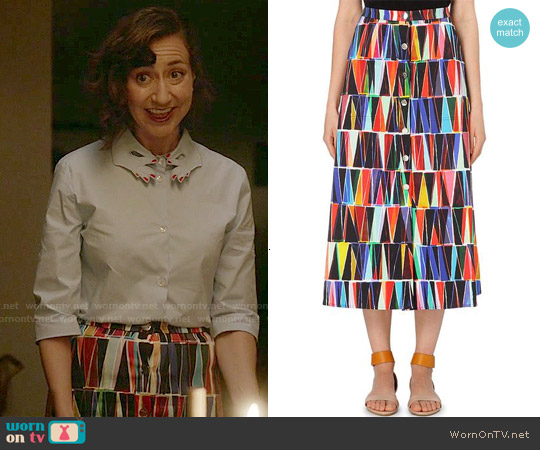 Saloni Leah Geometric Skirt worn by Carol Pilbasian on Last Man On Earth