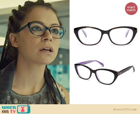 Salt Sylvie Glasses in Black Menagerie Orchid worn by Tatiana Maslany on Orchid Black